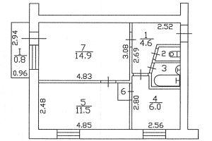 №11591623, продается квартира, 2 комнаты, площадь 41.3 м², ул.Рокоссовского, 10А, г.Чернигов, Черниговская область, Украина