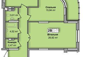 №13177400, продается двухкомнатная квартира, 2 комнаты, площадь 97 м², ул.Юрия Кондратюка, г.Киев, Киевская область, Украина